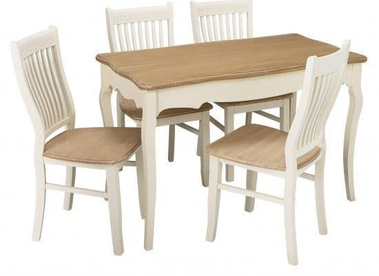 Rennes Soft White And Cream Dining Table 17LD375